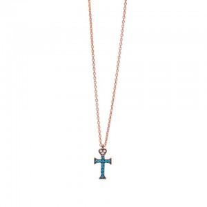 Κολιέ σταυρός με καρδιά